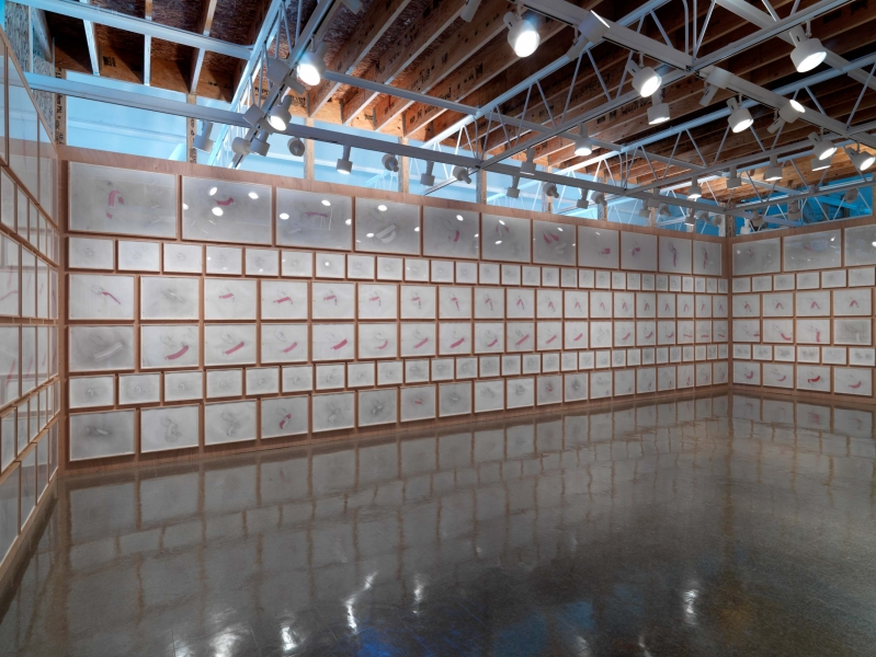 Wooden walls covered in rectangular drawings of various sizes