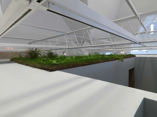 A small garden rests on top of a passageway, just below the grid, between rooms in the gallery; some rooms have no roofs