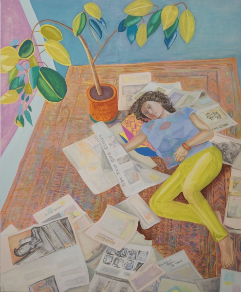 Aliza Nisenbaum, *Kayhan Reading the New York Times (Resistance Begins at Home)*, 2017. Courtesy the artist and Anton Kern Gallery, New York.