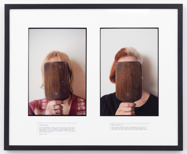 A diptych of two photographs; in each, a woman with light hair covers her face with a brown pentagonal mirror; text below