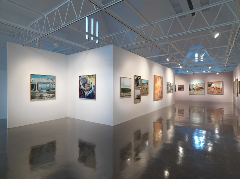 Four color photographs mounted on a wall in the center of the gallery