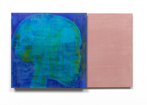 A teal skull on a deep blue background, layered on top of a peach canvas, looks to the right