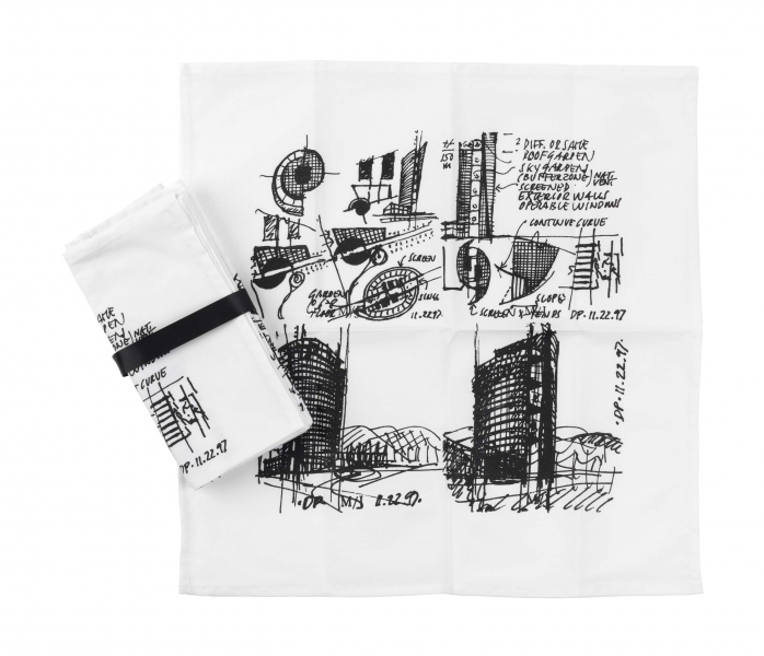 White fabric napkin with drawings in black ink