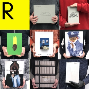 A 3x3 grid shows eight images of people holding books in front of their torsos, one image per square, logo in top left corner.