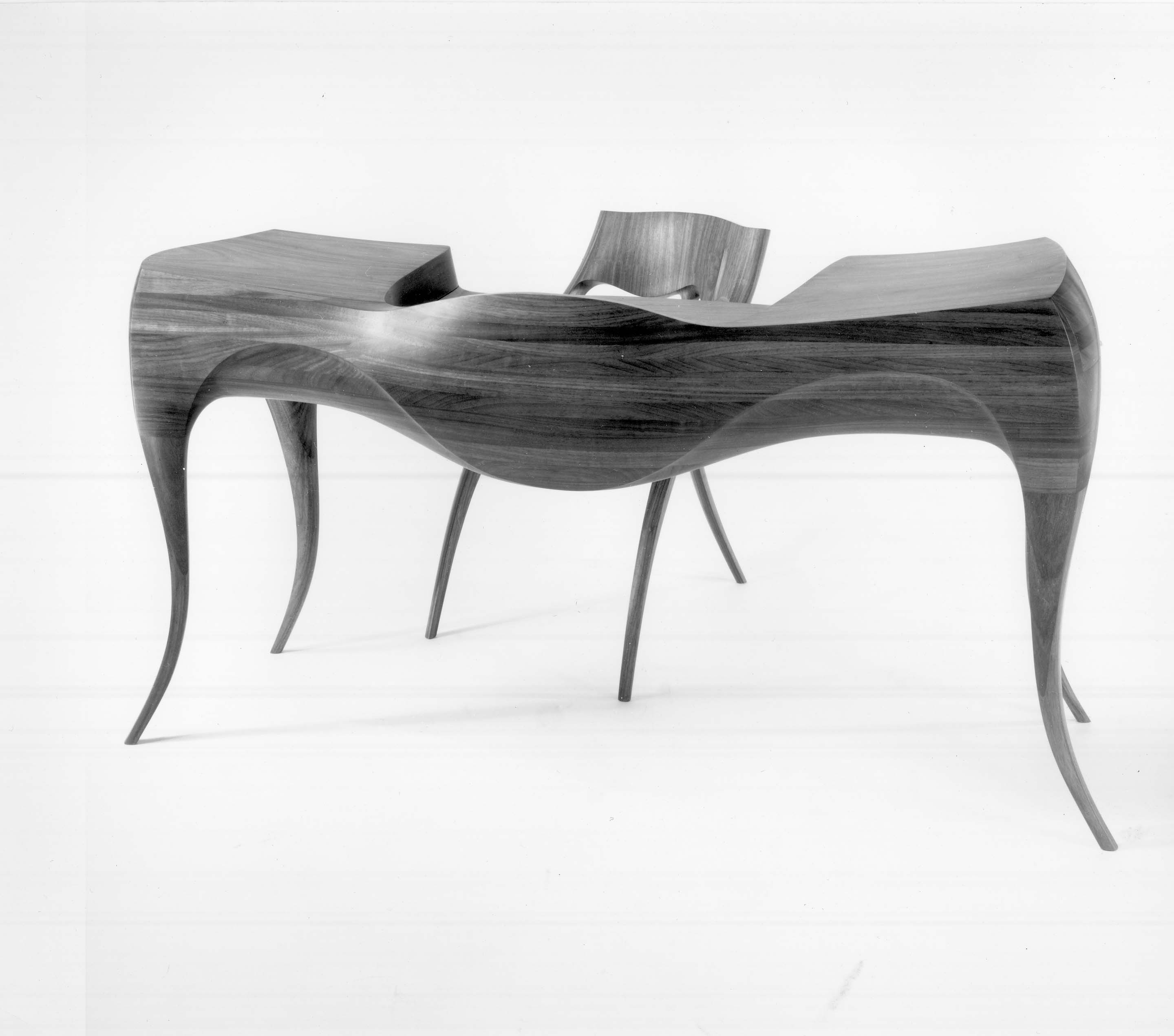 Wendell Castle, Desk And Chair. Vermillion Wood.
