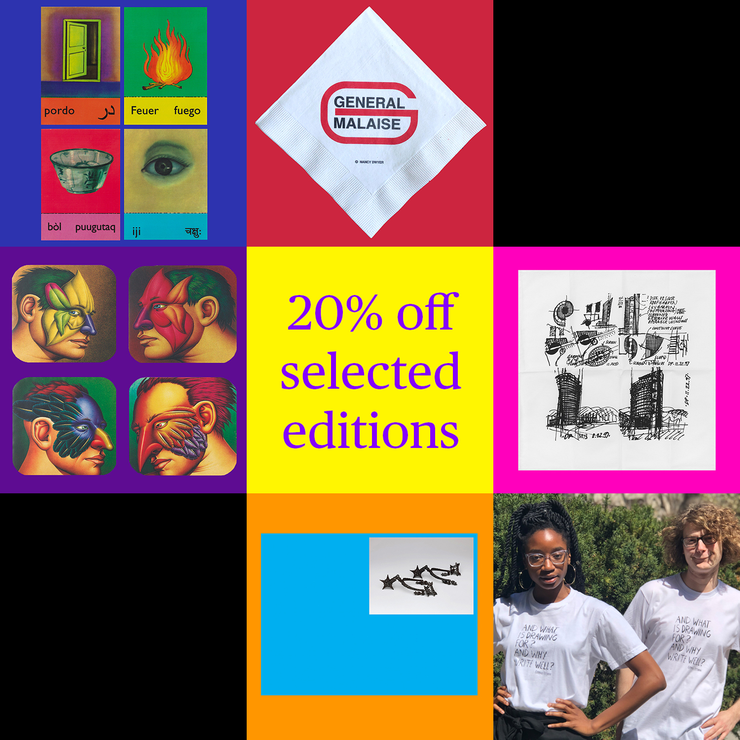 A 3x3 grid advertises a sale for editions, one edition per square, with the top right and bottom left corners blacked out.