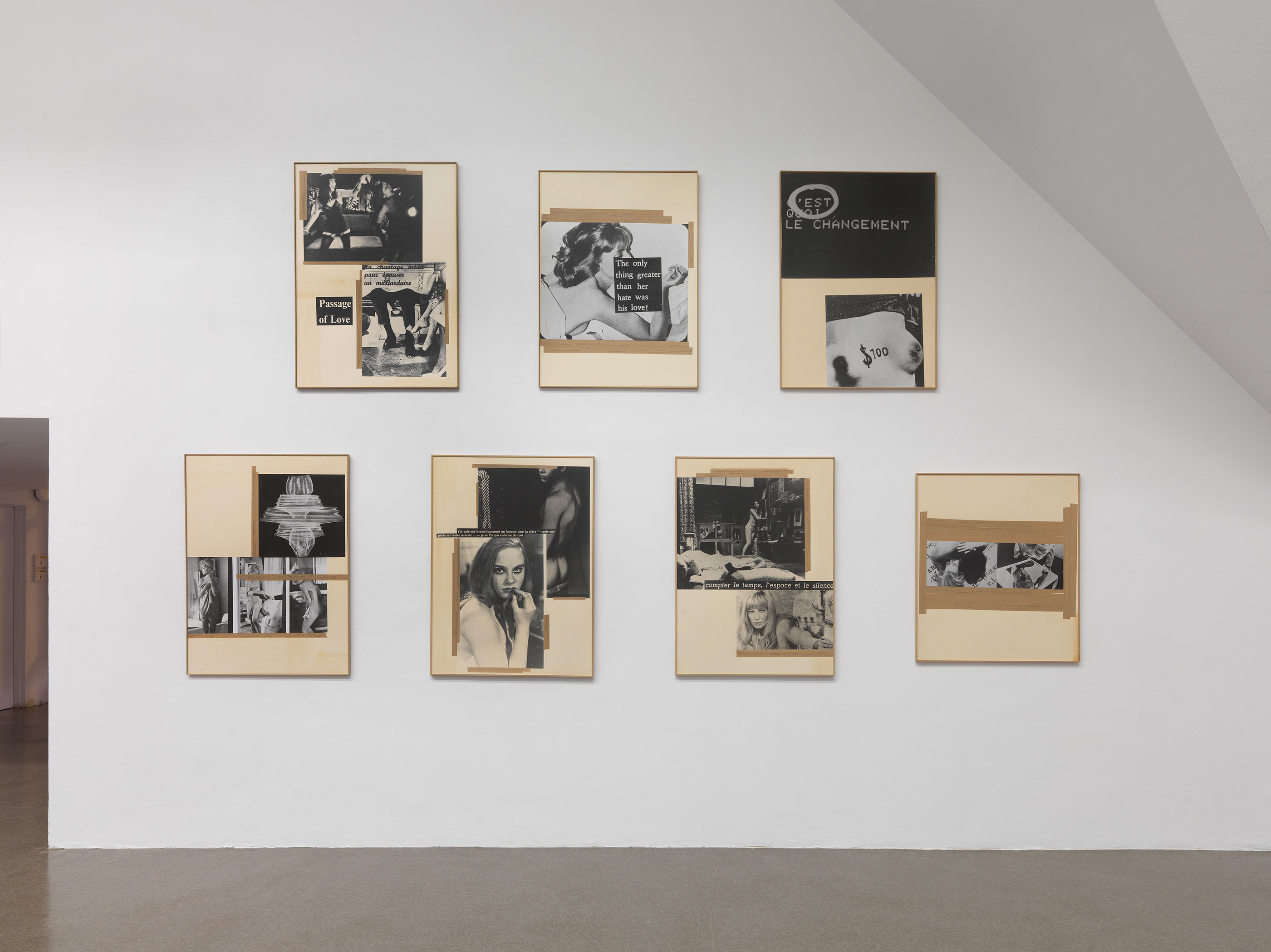 Seven collages of black-and-white photographs and text, with masking tape (or something like it) around selected images