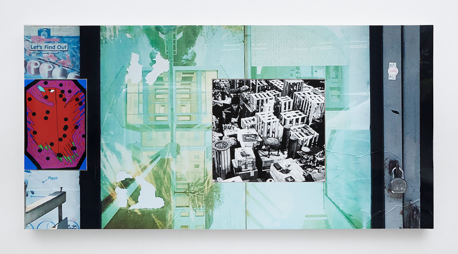 A mixed-media collage incorporating photographs and drawings into the canvas
