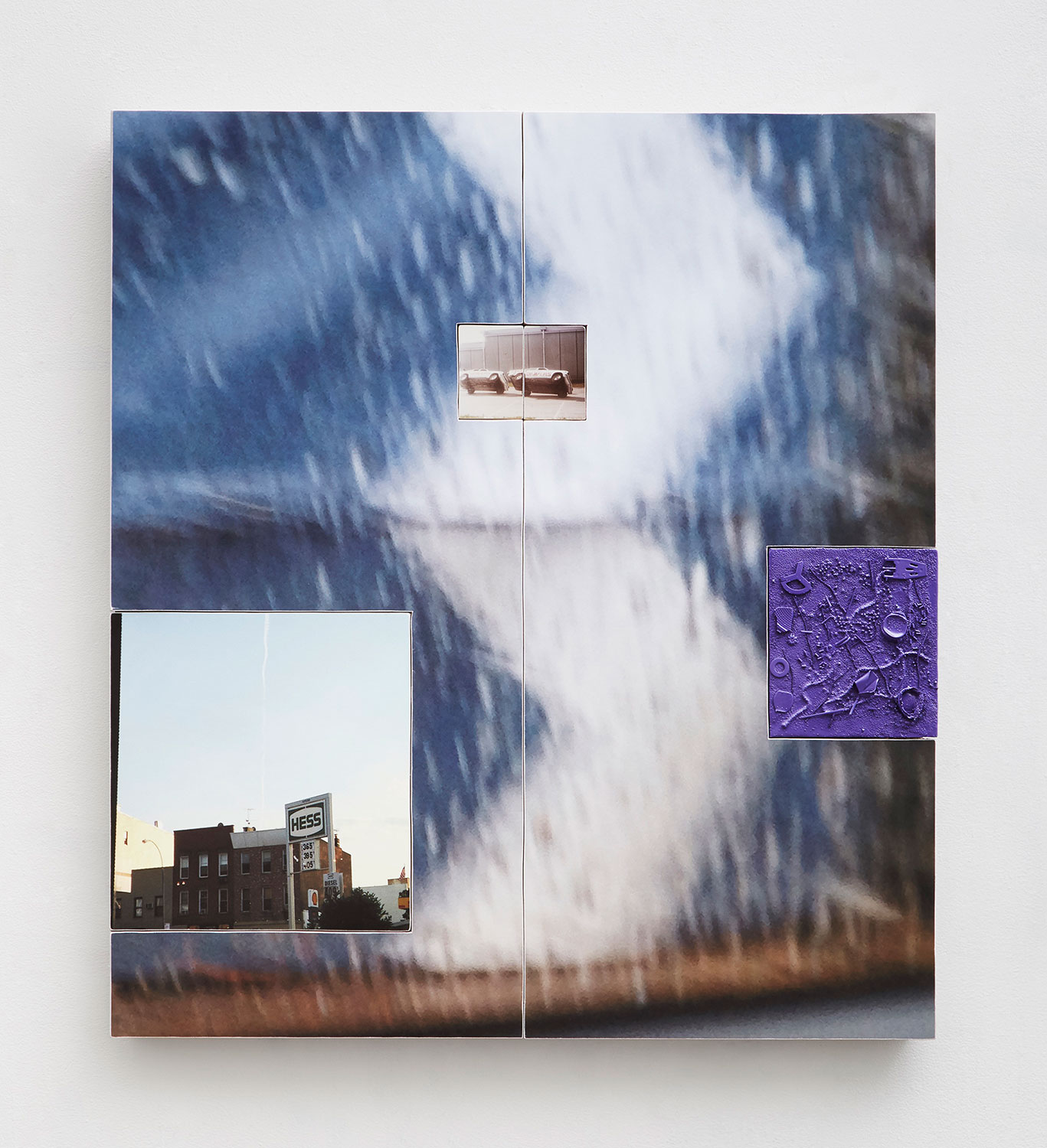 Three photographs, arranged in a triangle, layered atop a larger detail photograph